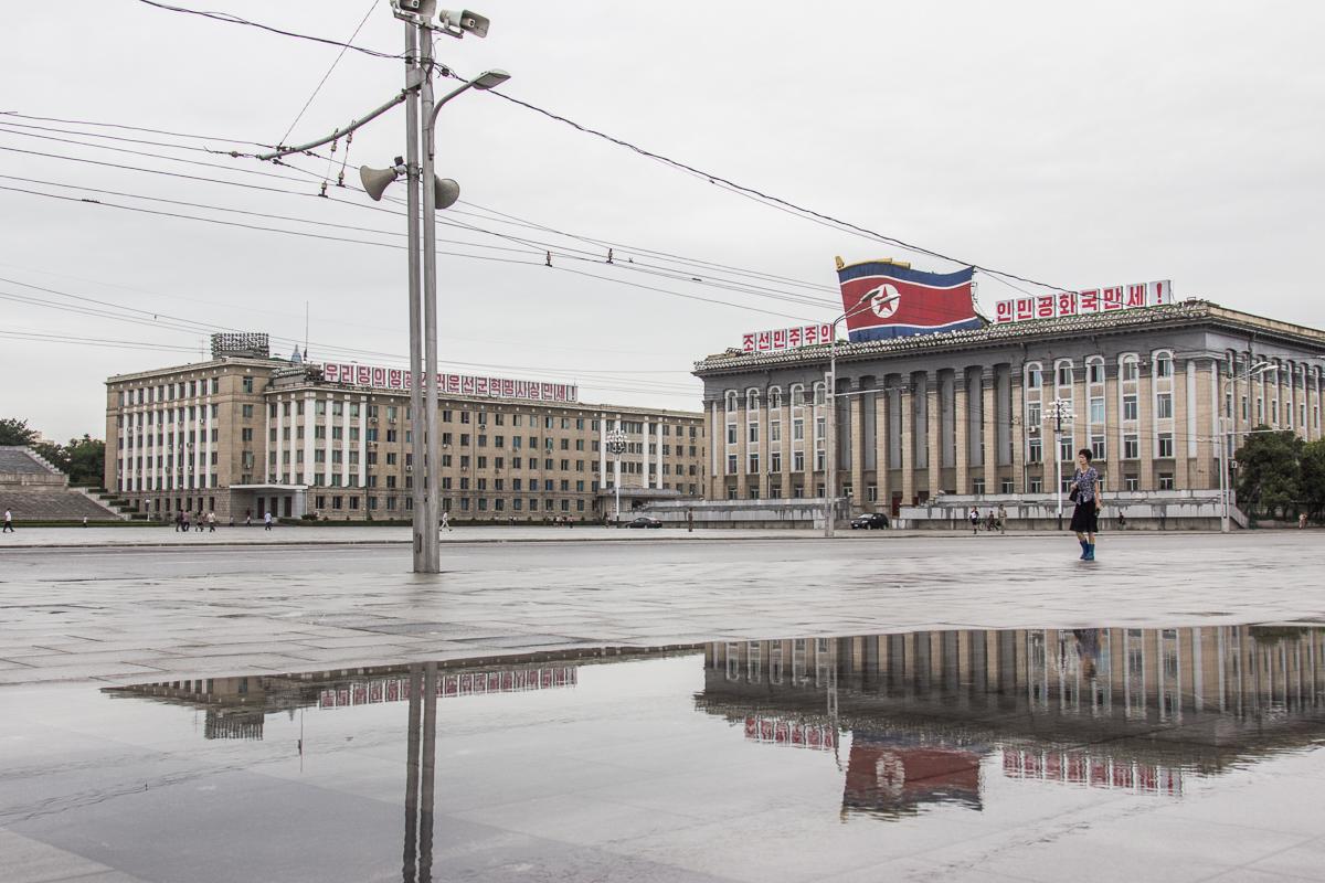 Op het Kim Il-sung plein in Pyongyang