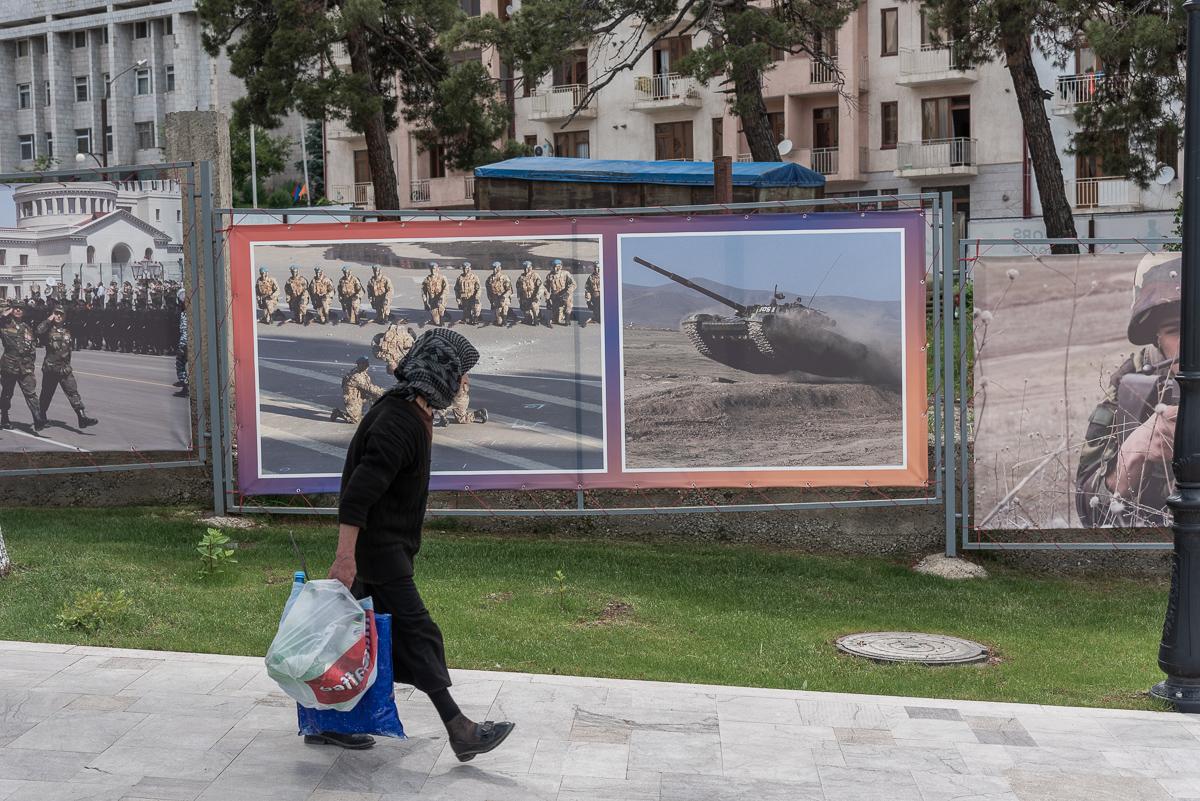 Straatbeeld in Stepanakert, de hoofdstad van Nagorno-Karabach